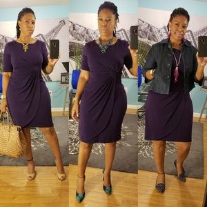 Connected Apparel Eggplant Colored Dress (Size 8)